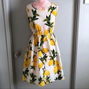 Dresses & Skirts - Sleeveless Lemon Print Dress, Size M-L